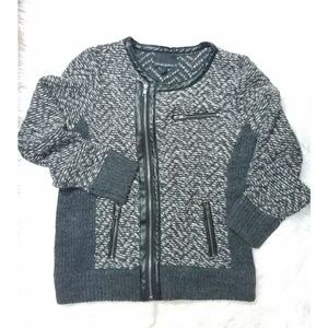 Cynthia Rowley Knit Moto Jacket L